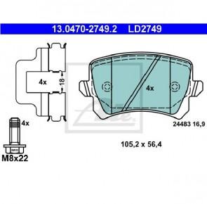 Ceramic Bremsbelagsatz Hinterachse für AUDI ATE 13.0470-2749.2