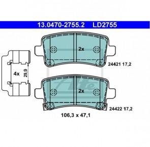 Ceramic Bremsbelagsatz Hinterachse für OPEL ATE 13.0470-2755.2