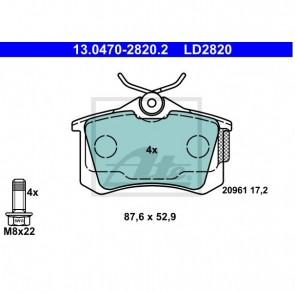 ATE Bremsbelagsatz Ceramic für CITROEN PEUGEOT ATE 13.0470-2820.2