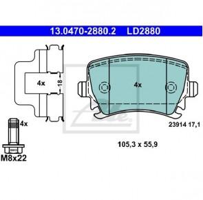 Ceramic Bremsbelagsatz Hinterachse für AUDI ATE 13.0470-2880.2