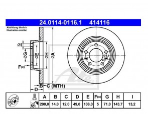 2 x Bremsscheibensatz Ø290 mm Hinten für PEUGEOT ATE 24.0114-0116.1