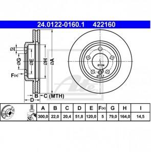 2x Bremsscheibe für BMW Vorderachse ATE 24.0122-0160.1