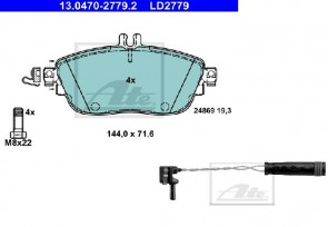 Bremsbelagsatz für VA INFINITI MERCEDES ATE 13.0470-2779.2 + 24.8190-0067.2