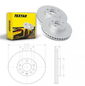 TEXTAR 92118703 x2 Bremsscheibensatz Vorderachse FIAT Saab 9-3
