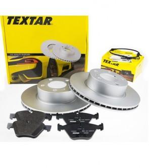 Bremsscheiben + Bremsbeläge + Warnkontakt TEXTAR 92133003 + 2392701 + 98031300