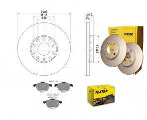 TEXTAR 2x 92057603 + 2162402 Bremsscheiben PRO Bremsbelagsatz VA VW AUDI