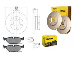 TEXTAR 92072403 + 2193402 + 98024000 Bremsbelagsatz Bremsscheiben PRO HA BMW