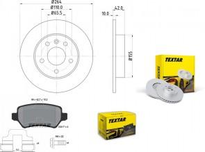 Bremsscheiben PRO mit Bremsbelagsatz hinten TEXTAR 92092103 und 2341702