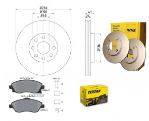 Bremsscheiben PRO mit Bremsbelagsatz vorne TEXTAR 92111103 und 2322501