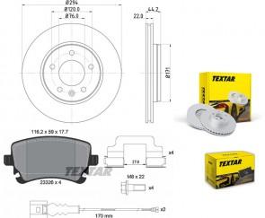 TEXTAR 2x 92121403 + 2332602 Bremsenset PRO Hinterachse hinten für VW AUDI