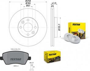 TEXTAR 2x 92241503 + 2397301 Bremsensatz SET PRO vorne für MB RENAULT