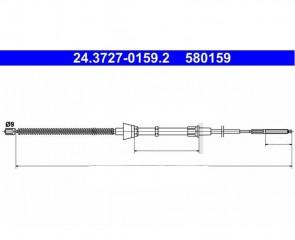 2 x Handbremsseil 1392 mm Hinten Links / Rechts Seat VW ATE 24.3727-0159.2