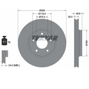 TEXTAR 92116003 x2 Stk Bremsscheiben PRO Satz vorne für Nissan RENAULT Opel