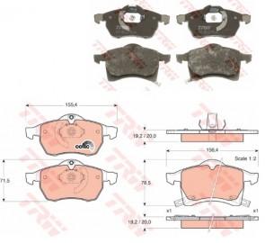 Bremsbelagsatz Scheibenbremse Vorderachse für OPEL ZAFIRA ASTRA TRW GDB1350