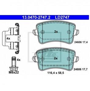 Bremsbeläge Ceramic Bremsbelagsatz Hinten ATE 13.0470-2747.2