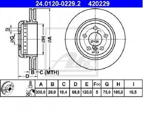 2x Bremsscheiben Ø330mm HintenATE 24.0120-0229.2