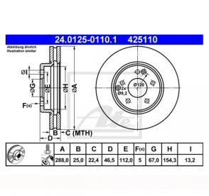 2x Bremsscheiben Ø288mm Vorne ATE 24.0125-0110.1
