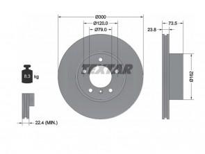 2x Stk. Bremsscheibe PRO SET Innenbelüftet für BMW TEXTAR 92137703
