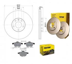 Bremsscheiben PRO mit Bremsbelagsatz vorne TEXTAR 92106105 und 2301802