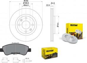 Bremsscheiben PRO mit Bremsbelagsatz vorne TEXTAR 92111503 und 2395401