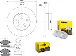 Bremsscheiben PRO mit Bremsbelagsatz vorne TEXTAR 92115203 und 2374303