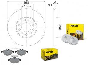 Bremsscheiben PRO mit Bremsbelagsatz vorne TEXTAR 92118703 und 2373807