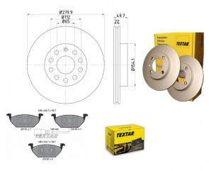 Bremsscheiben PRO mit Bremsbelagsatz vorne TEXTAR 92120705 und 2313101