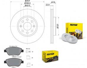 Bremsscheiben PRO mit Bremsbelagsatz vorne TEXTAR 92145703 und 2398202