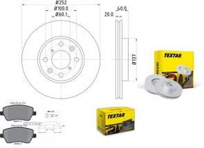 Bremsscheiben PRO mit Bremsbelagsatz vorne TEXTAR 92148903 und 2397302